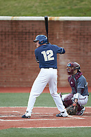 Jed Bryant (12) of the Wingate Bulldogs at bat against the Concord Mountain Lions at Ron Christopher Stadium on February 1, 2020 in Wingate, North Carolina. The Bulldogs defeated the Mountain Lions 8-0 in game one of a doubleheader. (Brian Westerholt/Four Seam Images)