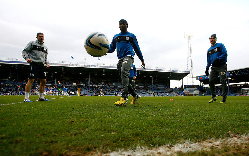 Preston North End's David Amoo chases the ball during the warm up..Football - npower Football League Division One - Portsmouth v Preston North End - Saturday 15th December 2012 - Fratton Park - Portsmouth..