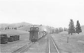 D&amp;RGW work train at Lobato siding - MP 340.<br /> D&amp;RGW  Lobato, NM  Taken by Peyton, Ernie S. - fall 1949
