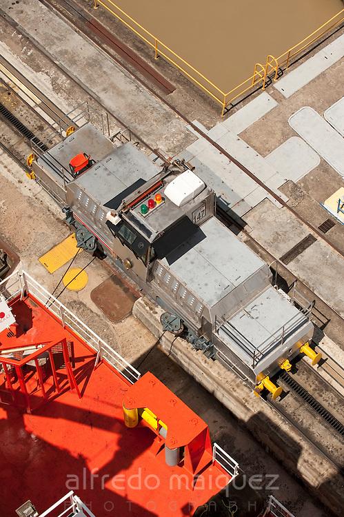 Aerial view of ocomotive at Miraflores Locks. Panama Canal, Panama City, Panama, Central America.