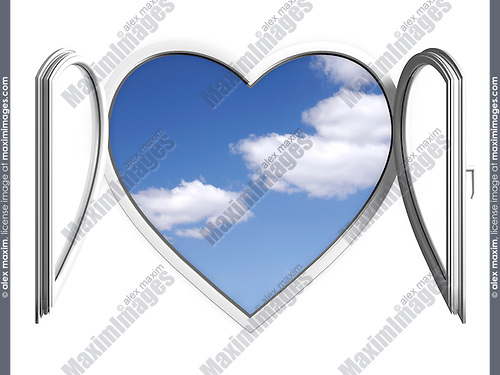 Conceptual stock photo-illustration of Blue summer sky behind an open white heart-shaped PVC window Creative window system design Home renovation Construction industry Interior design Ecology Environment concept Isolated silhouette over white background