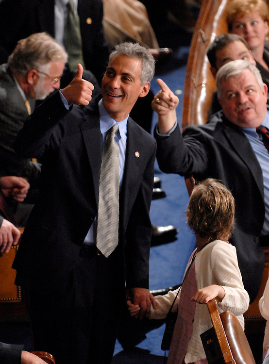 Rep. Rahm Emanuel, D-Ill., gives a thumbs up on the House Floor after Rep. Nancy Pelosi was elected Speaker of the House on Thursday, Jan. 4, 2007. (Bill Clark/CQ Roll Call)