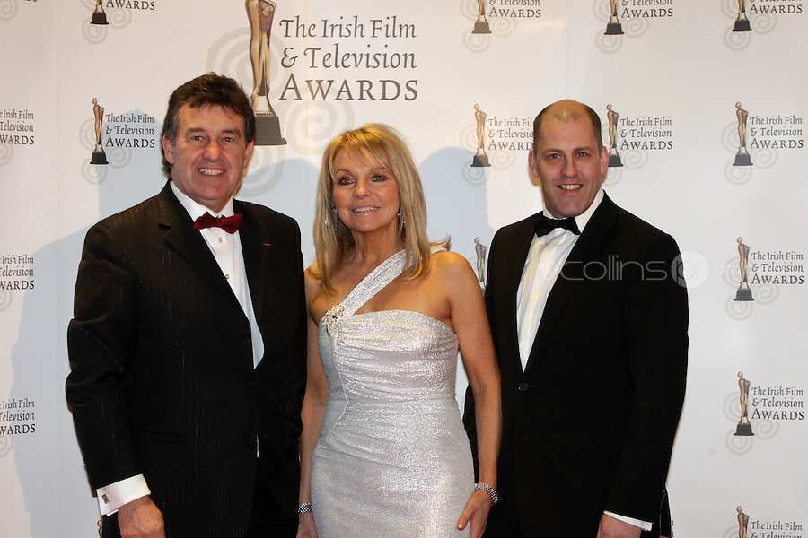 12/2/11 Bill Cullen, Jackie Lavin and Brian Purcell, The Apprentice on the red carpet at the 8th Irish Film and Television Awards at the Convention centre in Dublin. Picture:Arthur Carron/Collins
