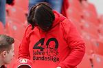 11.05.2019, BayArena, Leverkusen, GER, 1. FBL, Bayer 04 Leverkusen vs. FC Schalke 04 ,<br />  <br /> DFL regulations prohibit any use of photographs as image sequences and/or quasi-video<br /> <br /> im Bild / picture shows: <br /> an alle Fans bekommen Shirts 40 Jahre Bundesliga<br /> <br /> Foto &copy; nordphoto / Meuter