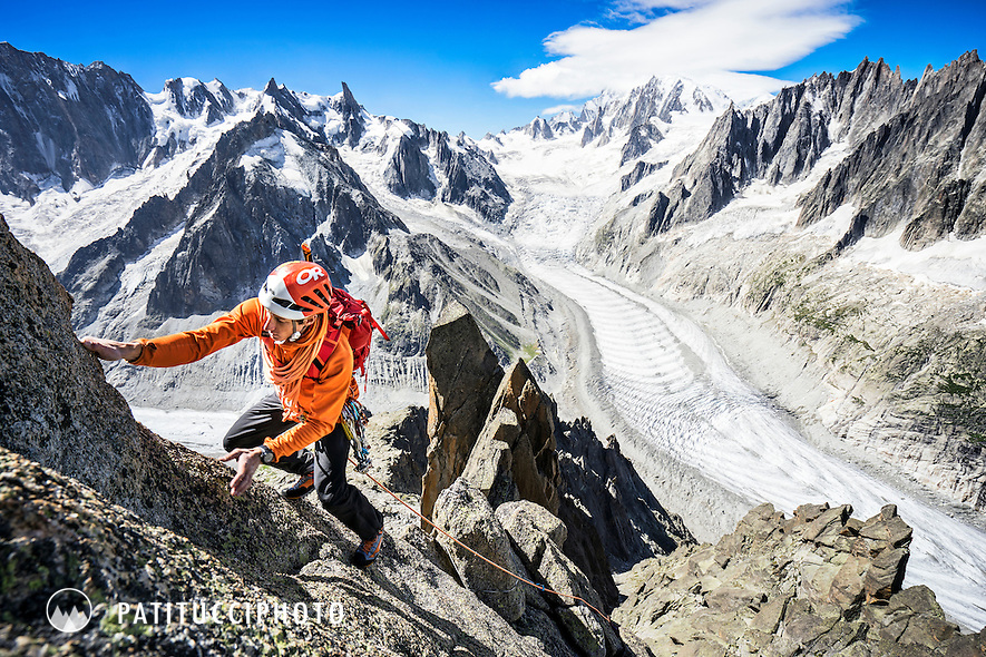 Climbing the Aiguille du Moine's South Ridge Integral, D. A long alpine rock ridge in Chamonix, France.