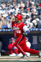 Osmani Urrutia of the Cuban national team during game against the Dominican Republic team during the World Baseball Championships at Petco Park in San Diego,California on March 18, 2006. Photo by Larry Goren/Four Seam Images