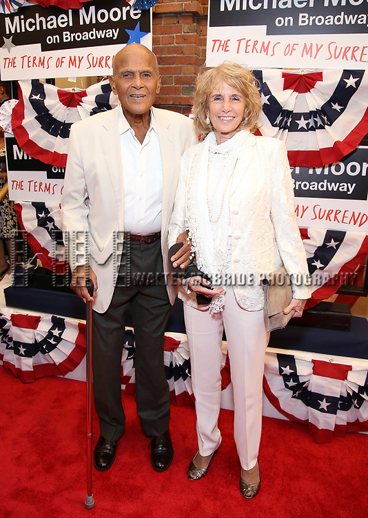 Harry Belafonte and Pamela Frank attends the Broadway Opening Night Performance for 'Michael Moore on Broadway' at the Belasco Theatre on August 10, 2017 in New York City.