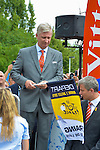 King Philippe of Belgium gives the start of the 4th stage of the Tour de France ( Seraing - Cambrai ) Seraing , July 7, 2015, Belgium