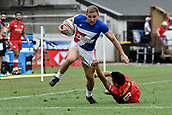 2nd February 2019, Spotless Stadium, Sydney, Australia; HSBC Sydney Rugby Sevens; Canada versus France; Thibaud Mazzoleni of France evades the tackle of Brock Webster of Canada