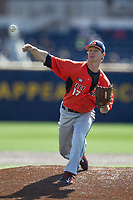 Illinois Fighting Illini pitcher Matthew James (17) delivers a pitch to the plate against the Michigan Wolverines during the NCAA baseball game on April 8, 2017 at Ray Fisher Stadium in Ann Arbor, Michigan. Michigan defeated Illinois 7-0. (Andrew Woolley/Four Seam Images)