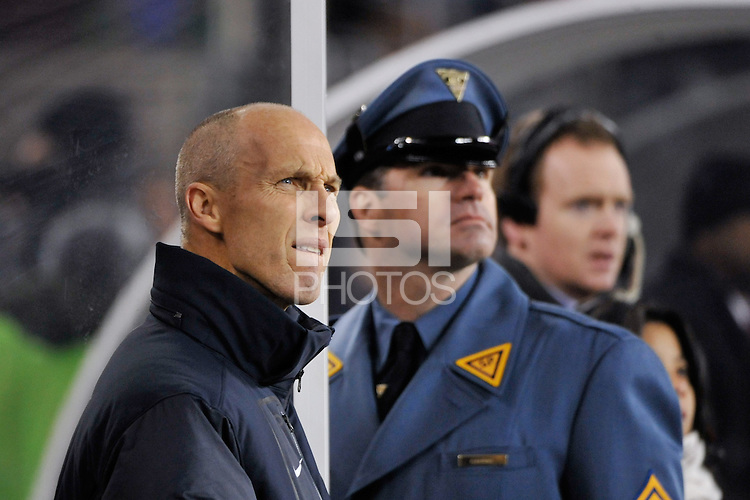 United States head coach Bob Bradley watches a replay on the big screen. The United States (USA) and Argentina (ARG) played to a 1-1 tie during an international friendly at the New Meadowlands Stadium in East Rutherford, NJ, on March 26, 2011.