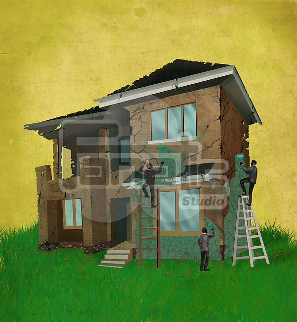 Illustrative image of business people covering cracked house with money representing home insurance
