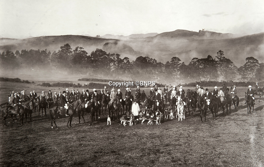 BNPS.co.uk (01202 558833)<br /> Pic: PhilYeomans/BNPS<br /> <br /> The Ootacamund hunt in the rolling Nilgiri hills around the famous Indian hill station. Where the British escaped the heat and the dust of the lowlands during the summer months. <br /> <br /> Last Days of the Raj - A fascinating family album from one of the last Viceroy's of India reveal Britain's 'Jewel in the Crown' in all its splendour.<br /> <br /> The family album of Viscount George Goschen has been unearthed after 90 years, and provide's an amazing snapshot of the pomp and pageantry of a wealthy and powerful British family in India in the 1920s and 30's.<br /> <br /> They show the Governor of Madras and his family enjoying a lavish lifestyle of parades, banquets and hunting and horse racing in the last decades of the Raj.<br /> <br /> At the time, Gandhi was organising peasants, farmers and labourers to protest against excessive land-tax and discrimination. <br /> <br /> The album consists of some 300 large photographs. They have remained in the family for 90 years but have now emerged for auction following a house clearance and are tipped to sell for &pound;200.