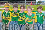 Ruairi Dorrian, New York, Cianan Daly, Knocknahoe, Saoirse and Hugh Dorrian, New York, and Shane O'Sullivan, Rossdara castlemaine originally  Kerry fans at the Munster Senior Football Final in Fitzgerald Stadium in Killarney on Sunday.
