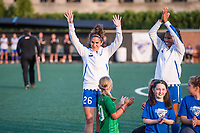 Boston, MA - Sunday September 10, 2017: Angela Salem waives to the crowd after recognition of her 100th NWSL appearance during a regular season National Women's Soccer League (NWSL) match between the Boston Breakers and Portland Thorns FC at Jordan Field.