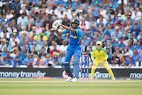 Hardik Pandya (India) prepares to pull a short delivery from Pat Cummins (Australia) during India vs Australia, ICC World Cup Cricket at The Oval on 9th June 2019