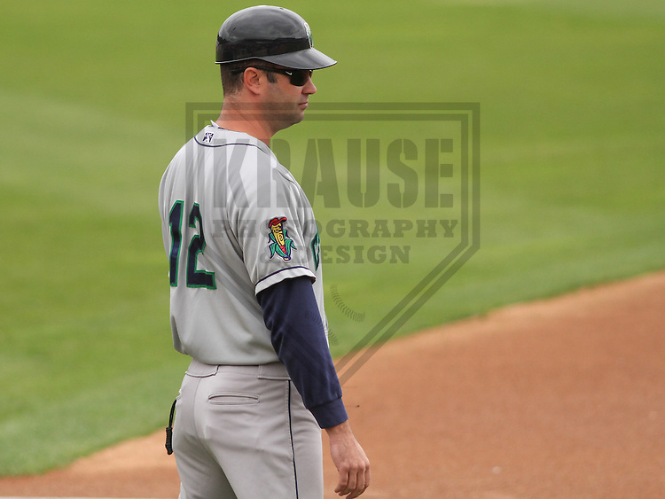 APPLETON - June 2015: Cedar Rapids Kernels manager Jake Mauer (12) during a Midwest League baseball game against the Wisconsin Timber Rattlers on June 30th, 2015 at Fox Cities Stadium in Appleton, Wisconsin. Cedar Rapids defeated Wisconsin 3-2. (Brad Krause/Krause Sports Photography)