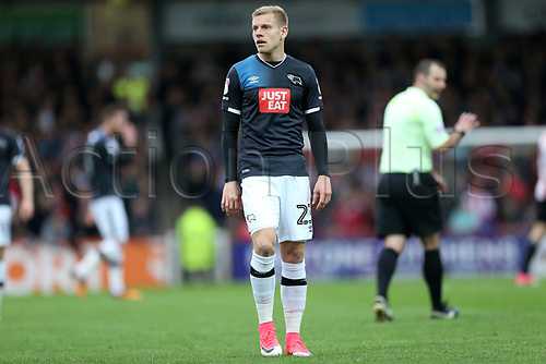 April 14th 2017,  Brent, London, England; Skybet Championship football, Brentford versus Derby County; Matej Vydra of Derby County looks on