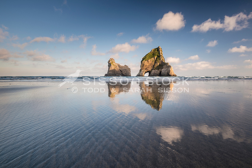 Sunrise, Wharariki Beach, Golden Bay, New Zealand - stock photo, canvas, fine art print