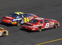 Apr 29, 2007; Talladega, AL, USA; Nascar Nextel Cup Series driver Jeff Gordon (24) races alongside Dale Earnhardt Jr (8) during the Aarons 499 at Talladega Superspeedway. Mandatory Credit: Mark J. Rebilas