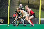 Jule Grashoff (24) of the Wake Forest Demon Deacons controls the ball in front of Ohio State Buckeyes defender Courtney Daniels (13) and goalie Liz Tamburro (88) during first half action at Kentner Stadium on September 10, 2017 in Winston-Salem, North Carolina.  The Demon Deacons defeated the Buckeyes 3-1.  (Brian Westerholt/Sports On Film)