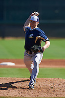 Milwaukee Brewers pitcher Conor Harber (43) during an instructional league game against the Los Angeles Dodgers on October 13, 2015 at Cameblack Ranch in Glendale, Arizona.  (Mike Janes/Four Seam Images)