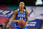 04 March 2016: Duke's Azura Stevens. The Duke University Blue Devils played the University of University of Notre Dame Fighting Irish at the Greensboro Coliseum in Greensboro, North Carolina in an Atlantic Coast Conference Women's Basketball Tournament Quarterfinal and a 2015-16 NCAA Division I Women's Basketball game. Notre Dame won the game 83-54.