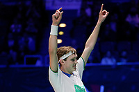 14th March 2020, Arena Birmingham, Birmingham, UK; Denmarks Viktor Axelsen celebrates his victory after the mens singles semifinal match against Malaysias Lee Zii Jia at All England Open 2020 badminton tournament in Birmingham