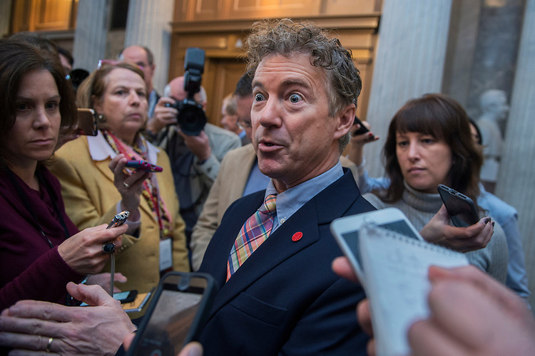 UNITED STATES - APRIL 7: Sen. Rand Paul, R-Ky., talks with reporters  in the Capitol on the day the Senate voted to confirm Neil Gorsuch as the next Supreme Court justice, April 7, 2017. (Photo By Tom Williams/CQ Roll Call)