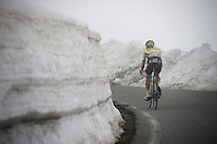 Bram Tankink (NLD/LottoNL-Jumbo) up the snow-covered Colle dell'Agnello (2744m)<br /> <br /> stage 19: Pinerolo(IT) - Risoul(FR) 162km<br /> 99th Giro d'Italia 2016