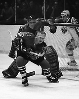 Chicago Black Hawks Pat Stapleton in front of goalie Gerry Dejardins game against the Seals in Oakland.<br />(photo 1970 by Ron Riesterer)