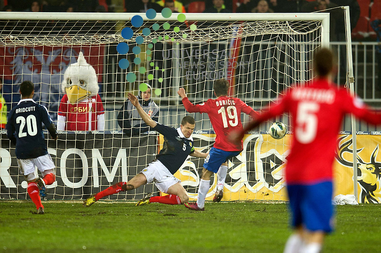 Filip Duricic of Serbia scores the first goal for his team during the Fifa World Cup Qualifier between Serbia and Scotland at Stadion Karadorde, Novi Sad, Serbia. 26 March 2013. Picture by Ian Sneddon / Universal News and Sport (Scotland). All pictures must be credited to www.universalnewsandsport.com. (Office) 0844 884 51 22. .