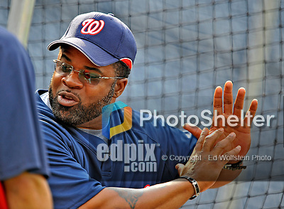 21 June 2008: Washington Nationals' Hitting Coach Lenny Harris lends his experience during batting practice prior to a game against the Texas Rangers at Nationals Park in Washington, DC. The Nationals fell to the Rangers 13-3 in the second game of their 3-game inter-league series...Mandatory Photo Credit: Ed Wolfstein Photo