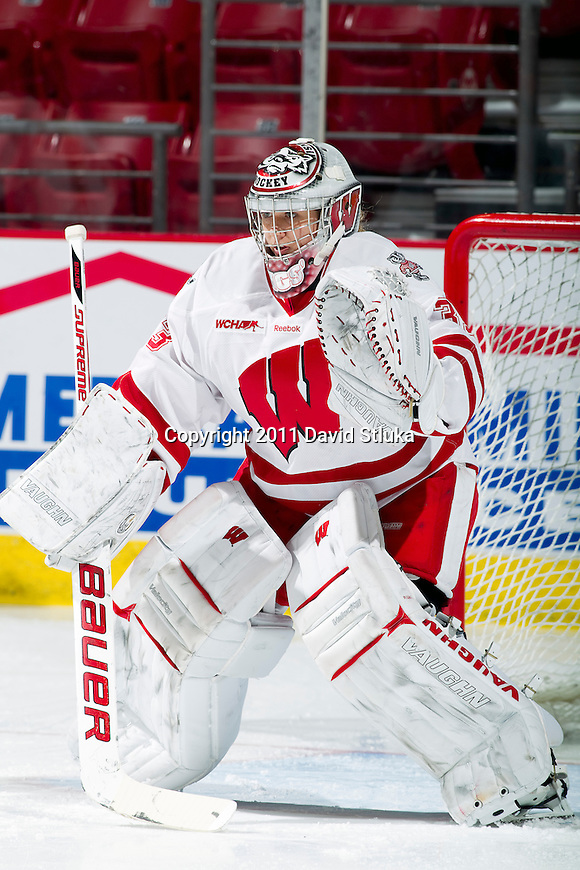 Wisconsin Badgers goalie Alex Rigsby (33) during warmups prior to an NCAA women's hockey game against the Minnesota Golden Gophers on October 14, 2011 in Madison, Wisconsin. The Badgers won 3-2. (Photo by David Stluka)