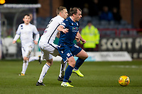 3rd March 2020; Dens Park, Dundee, Scotland; Scottish Championship Football, Dundee FC versus Alloa Athletic; Paul McGowan of Dundee and Scott Taggart of Alloa Athletic tussle for the ball