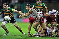Greig Laidlaw of Gloucester Rugby passes the ball. Aviva Premiership match, between Northampton Saints and Gloucester Rugby on November 27, 2015 at Franklin's Gardens in Northampton, England. Photo by: Patrick Khachfe / JMP