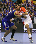 12.01.2013 Granollers, Spain. IHF men's world championship, prelimanary round. Picture show Amine Bonnour in action during game between France vs Tunisia at Palau d'esports de Granollers