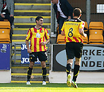 St Johnstone v Partick Thistle...28.09.13      SPFL<br /> Kris Doolan celebrates his goal<br /> Picture by Graeme Hart.<br /> Copyright Perthshire Picture Agency<br /> Tel: 01738 623350  Mobile: 07990 594431