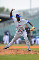 Round Rock Express pitcher Yohan Yan #28 during a game against the New Orleans Zephyrs on April 15, 2013 at Zephyr Field in New Orleans, Louisiana.  New Orleans defeated Round Rock 3-2.  (Mike Janes/Four Seam Images)