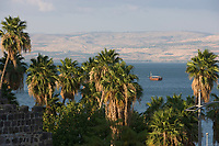 Asie/Israël/Galilée/Tibériade: les bords du lac de Tibériade et en fond les monts du Golan