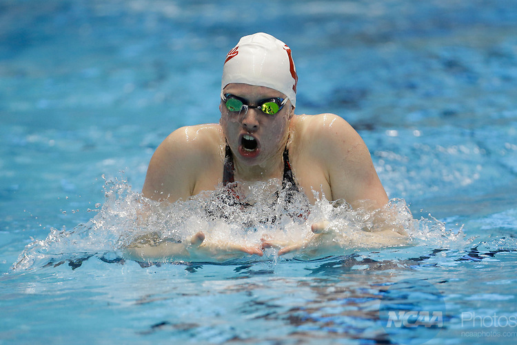 INDIANAPOLIS, IN - MARCH 18: Lilliy King swimming for Indiana in the 200-meter breaststroke during the Division I Women's Swimming & Diving Championships held at the Indiana University Natatorium on March 18, 2017 in Indianapolis, Indiana. (Photo by A.J. Mast/NCAA Photos via Getty Images)