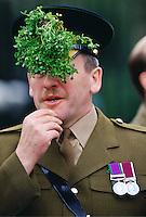 Irish Guard at Chelsea Barracks on St. Patrick's Day, Chelsea, United Kingdom.