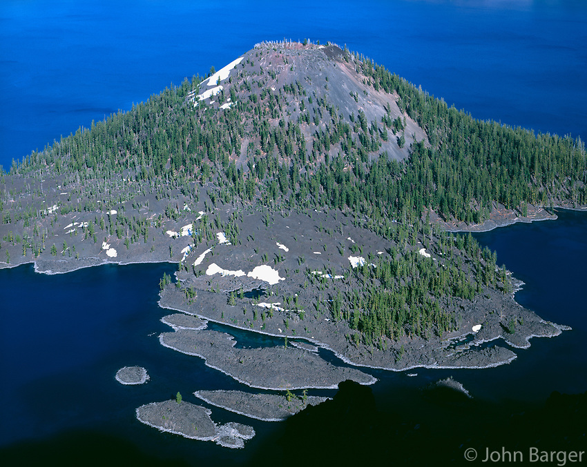ORCL_023 - USA, Oregon, Crater Lake National Park, Wizard Island, a volcanic cinder cone, with scattered conifers.