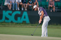 Dustin Johnson (USA) putts on the 17th hole during the third round of the 118th U.S. Open Championship at Shinnecock Hills Golf Club in Southampton, NY, USA. 16th June 2018.<br /> Picture: Golffile | Brian Spurlock<br /> <br /> <br /> All photo usage must carry mandatory copyright credit (&copy; Golffile | Brian Spurlock)