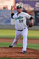 Aaron Brooks #50 of the Clinton LumberKings pitches against the South Bends Silver Hawks at Ashford University Field on July 26, 2014 in Clinton, Iowa. The Sliver Hawks won 2-0.   (Dennis Hubbard/Four Seam Images)