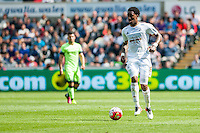 Leroy Fer in action during the Barclays Premier League match between Swansea City and Manchester City played at the Liberty Stadium, Swansea on the 15th of May  2016