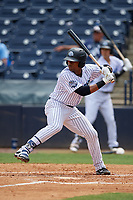 Tampa Tarpons left fielder Isiah Gilliam (24) at bat during a game against the Lakeland Flying Tigers on April 8, 2018 at George M. Steinbrenner Field in Tampa, Florida.  Lakeland defeated Tampa 3-1.  (Mike Janes/Four Seam Images)