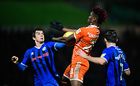 Blackpool's Armand Gnanduillet vies for possession with Rochdale's Jordan Williams, left, and Rochdale's Joe Rafferty<br /> <br /> Photographer Chris Vaughan/CameraSport<br /> <br /> The EFL Sky Bet League One - Rochdale v Blackpool - Wednesday 26th December 2018 - Spotland Stadium - Rochdale<br /> <br /> World Copyright &copy; 2018 CameraSport. All rights reserved. 43 Linden Ave. Countesthorpe. Leicester. England. LE8 5PG - Tel: +44 (0) 116 277 4147 - admin@camerasport.com - www.camerasport.com