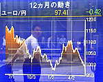 May 31, 2012, Tokyo, Japan - A chart shows how the weakening euro continues its plunge against the Japanese yen in the window of a Tokyo stock brokerage on Thursday, May 31, 2012. Finance Minister Jun Azumi reiterated that the government is closely watching the currency market, warning some market participants against attempting to gain profits with short-term bets. (Photo by Natsuki Sakai/AFLO) AYF -mis-