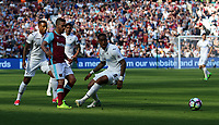 Saturday April 08 2017 <br /> Pictured: Luciano Narsingh of Swansea City and Leroy Fer of Swansea City <br /> Re: Premier League match between West Ham United and Swansea City at The London Stadium on April 8, 2017 in London, England.